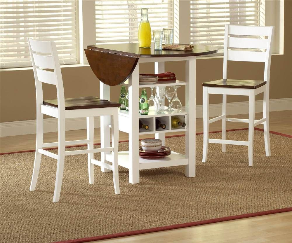 Ridgewood Drop Leaf Pub Table W Wine Rack In White With Images
