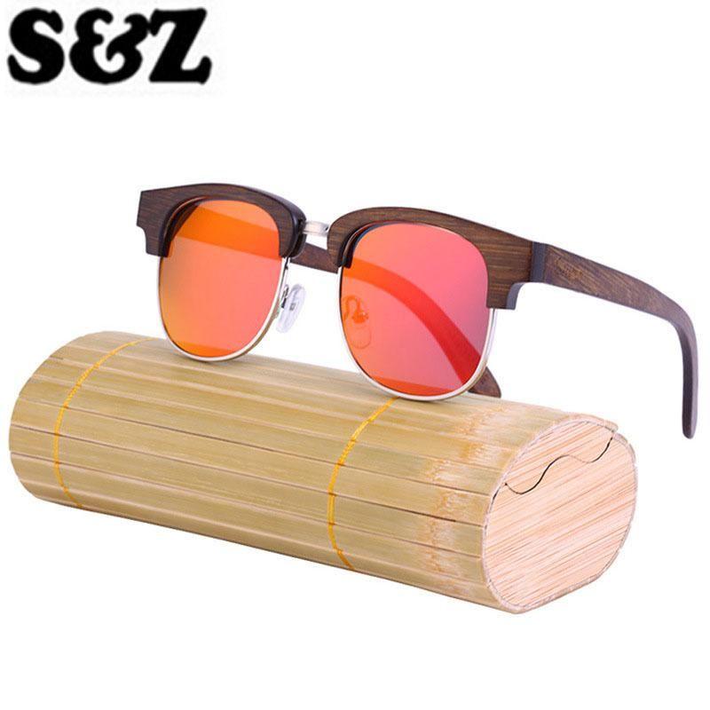 7f252d7980 Half Frame Wooden Sunglasses Polarized Men Women Bamboo Sunglasses  Polarised Glasses Retro - US  23.25