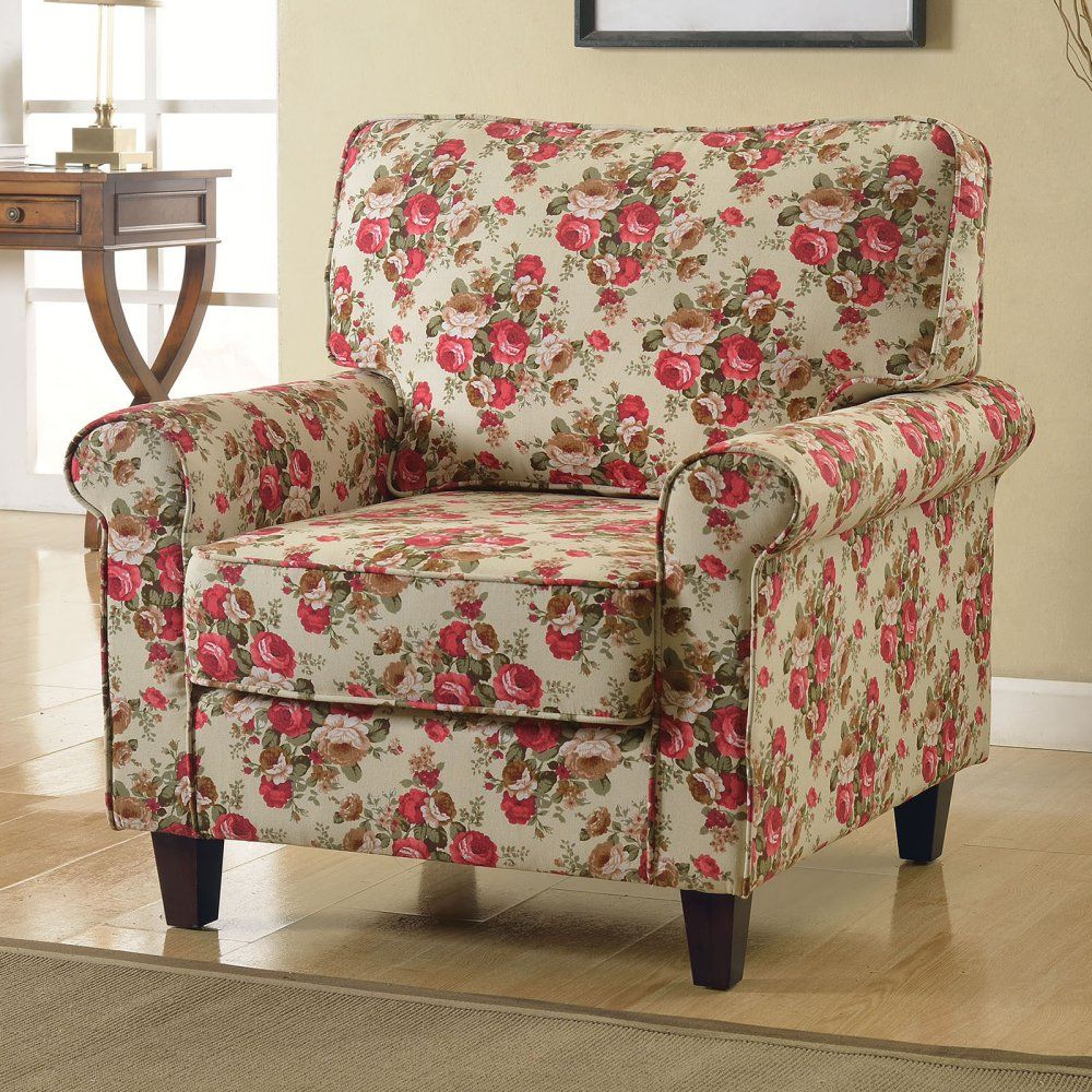 Acme furniture ciara accent chair floral linen accent