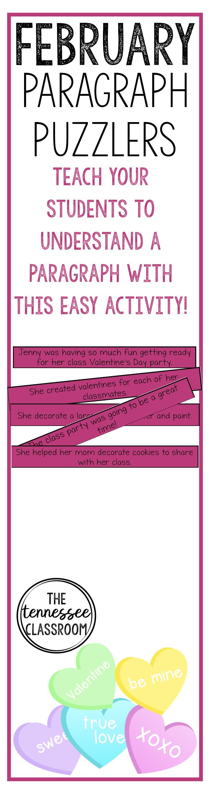 February writing activity paragraph puzzlers teaching