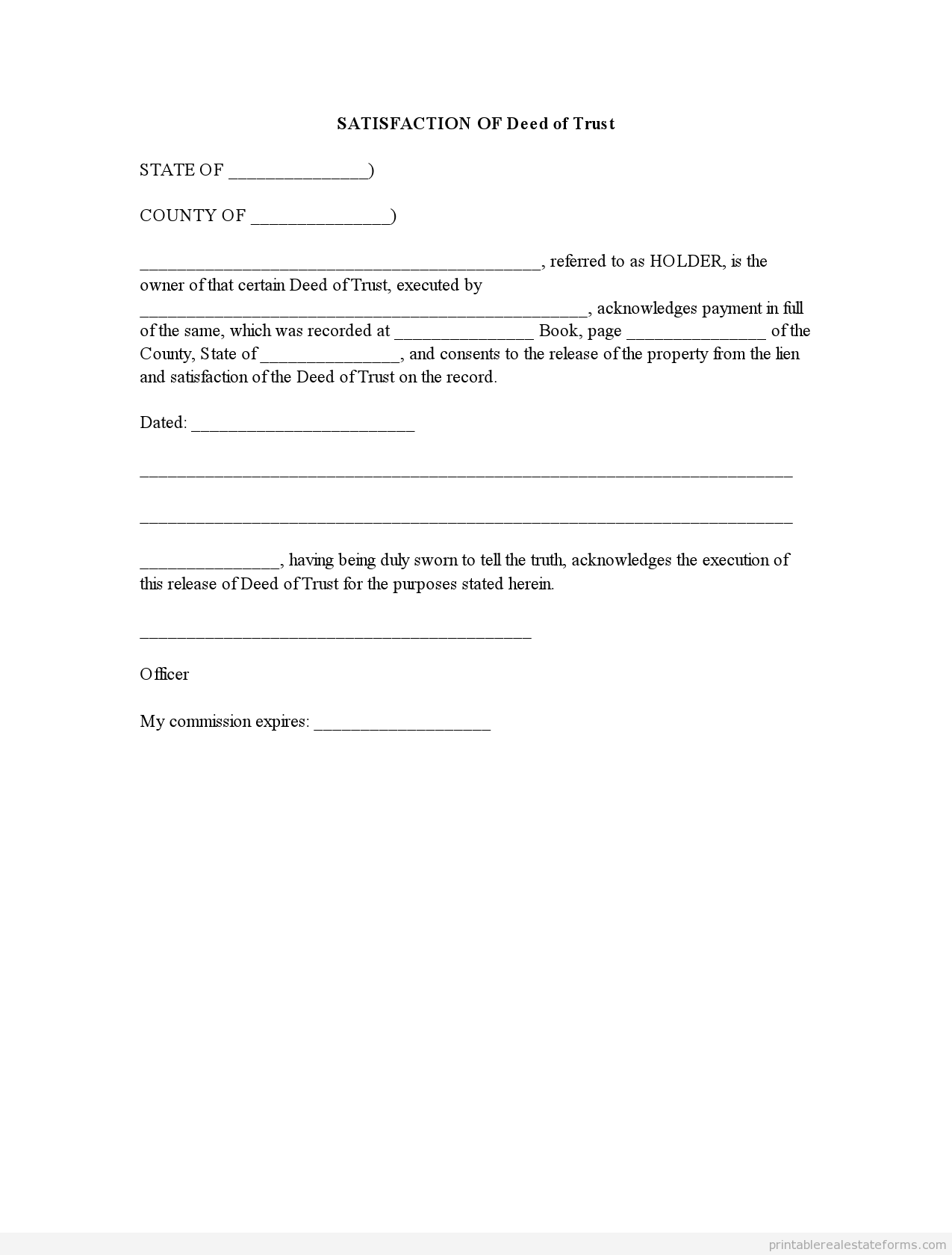 Sample Printable Satisfaction Of Deed Of Trust Form Real Estate Forms Legal Forms Real Estate Templates