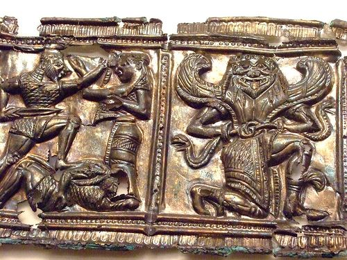 Relief with Mythological Scenes. Greek made in South Italy 540-530 BCE Silver and gold