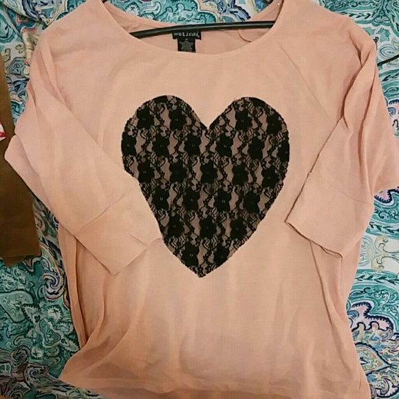 Peach pink black lace heart 3/4 sleeve sweater Super comfy peach sweater with cute lace heart applique. Wet Seal Sweaters