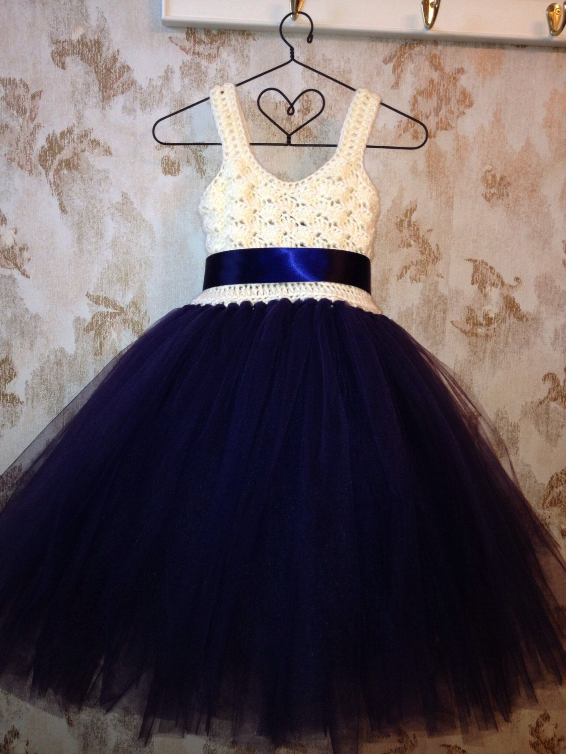Navy blue and ivory umpire ankle length flower girl tutu dress ...