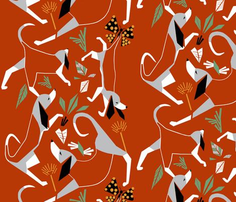 'Beagles + butterflies' custom made fabric design by English/Finnish designer Mirjamauno, © 2015