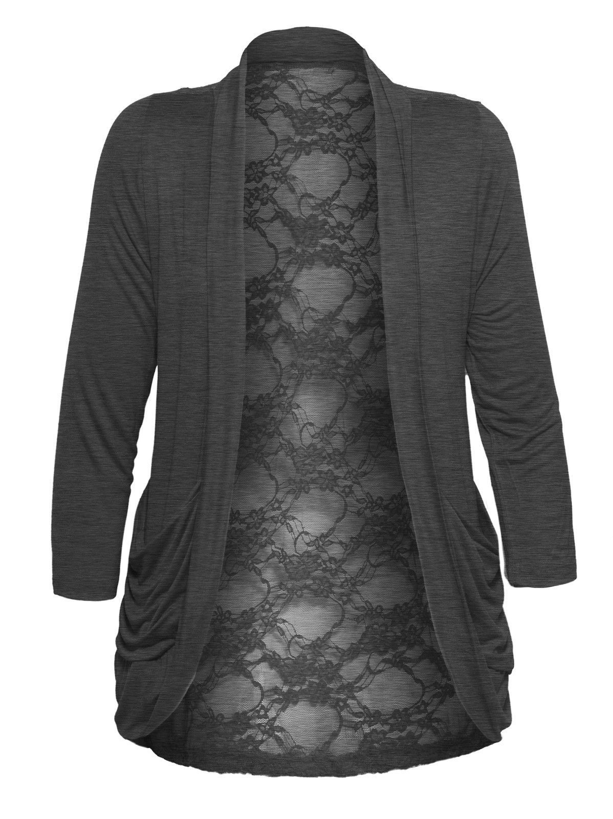 Women'S Lace Back Lightweight Plus Size Cardigan With Drape ...