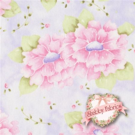 """Cherished Memories 24196-LIL1 Lilac By Arlene Neely For Red Rooster Fabrics: Cherished Memories is a collection by Arlene Neely for Red Rooster Fabrics.  100% cotton.  43/44"""" wide.  This fabric features a large pink floral on a mottled purple background."""