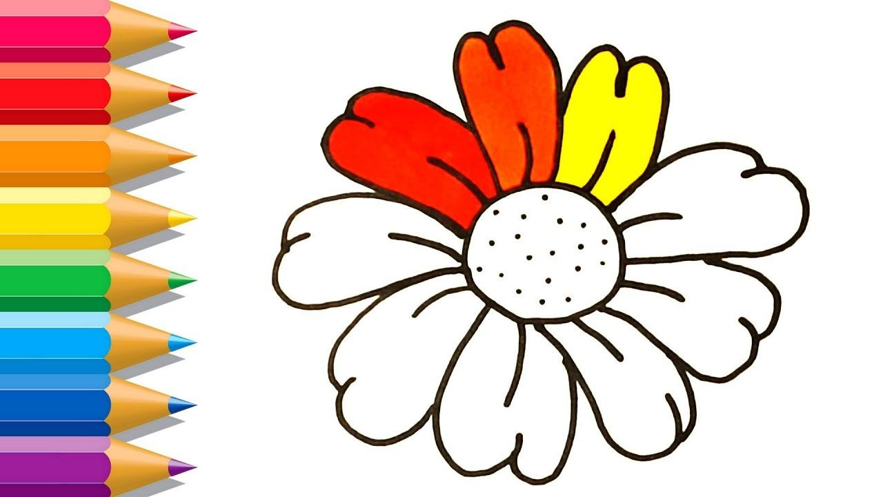 How to Draw Rainbow Flower Coloring Book for Kids with Colored ...
