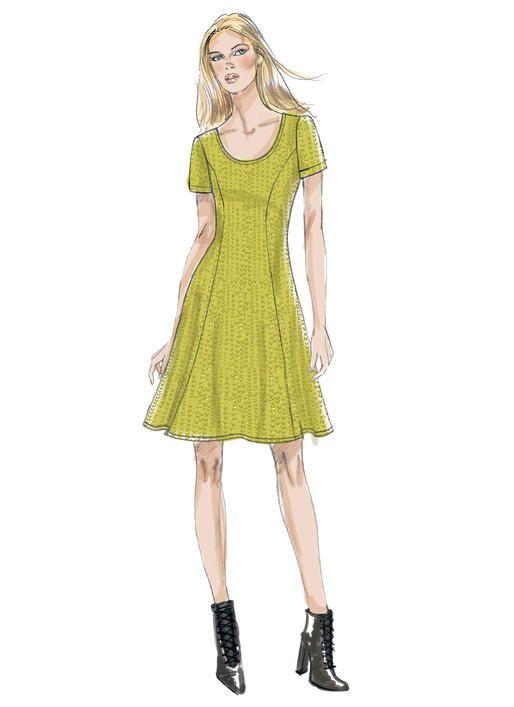 593f5e866b5 Vogue Patterns V9199 fit-n-flare dress sewing pattern for knits. Princess  seams  beginner-friendly.
