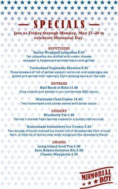 Customize Memorial Day Restaurant Specials Restaurant Specials Memorial Day Menu Design Template