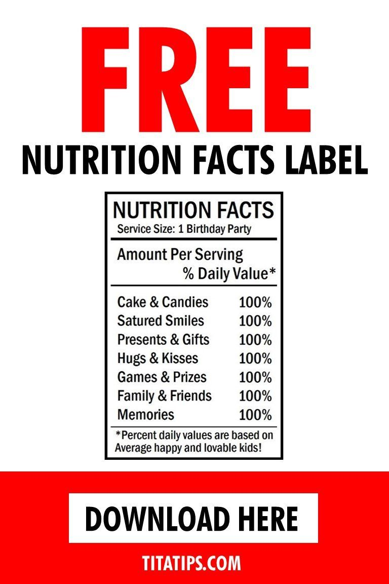 Free Birthday Nutrition Facts Label For Chip Bags Nutrition Facts Label Free Birthday Stuff Chip Bags