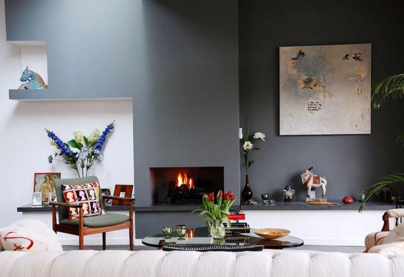 Wohnzimmer Blumen ~ Farbideen fürs wohnzimmer kamin dekorationen bild wandgestaltung