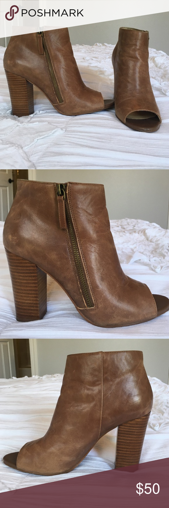 Levity 'Alana' leather peep toe bootie Levity 'Alana' leather peep toe bootie, size 9.5, worn once! levity Shoes Ankle Boots & Booties