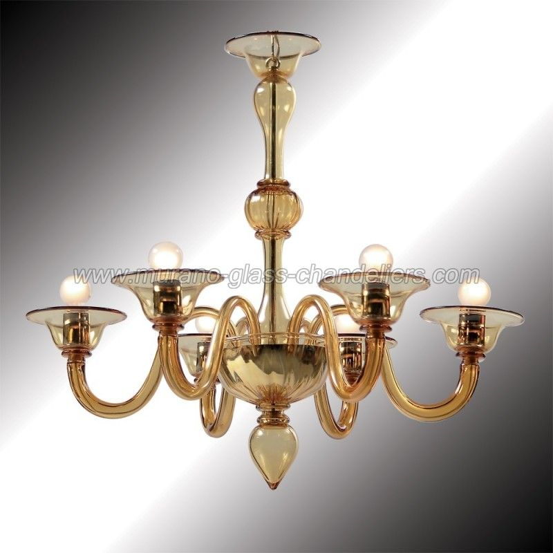 Simple But Armonious Forms In This Amazing 6 Lights Amber Murano Chandelier Authentic Glass Hand Blown Italy