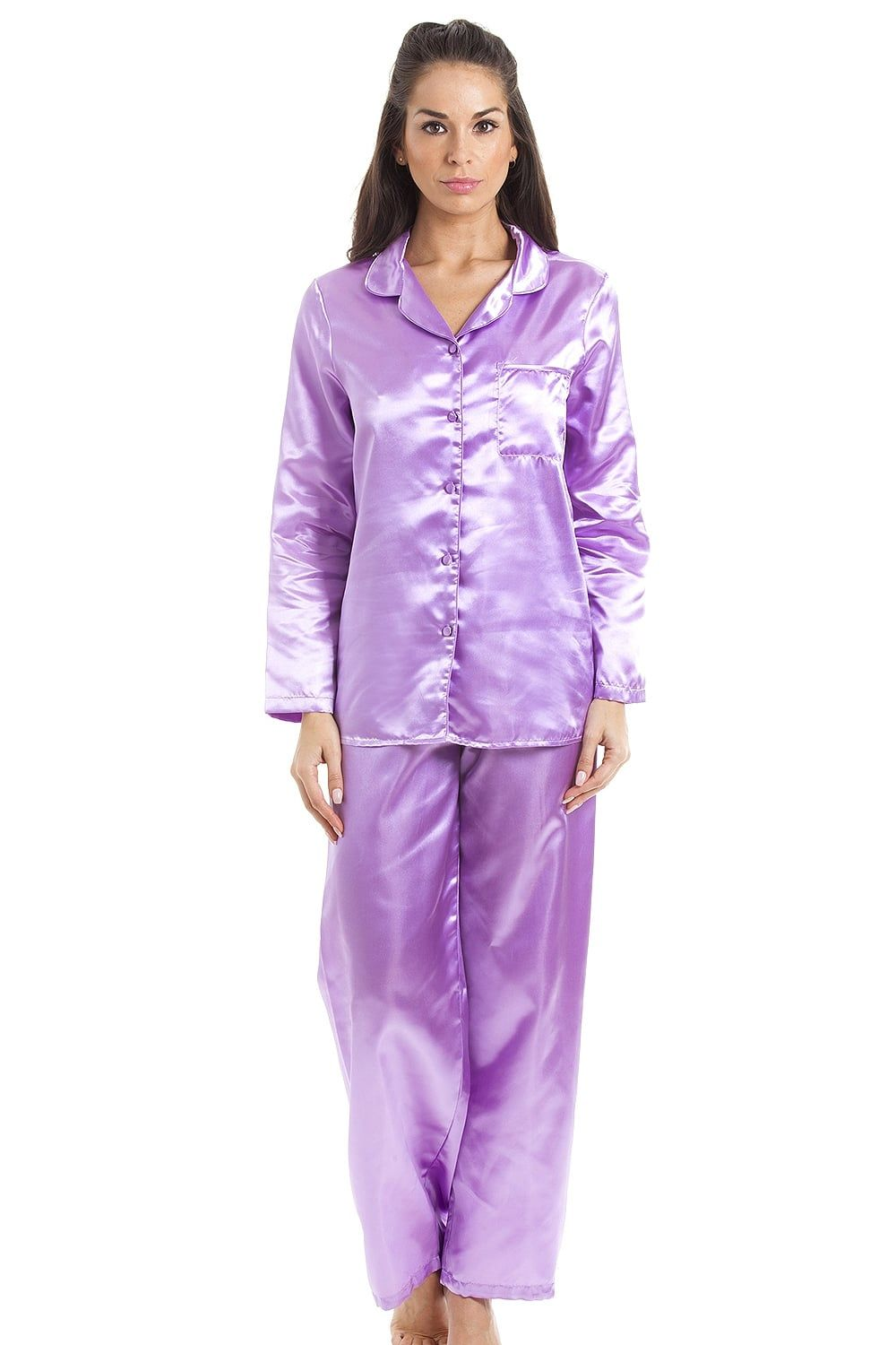 New Camille Ladies Lilac Luxury Satin Silky Long Pyjamas Lilac Sizes 18 20
