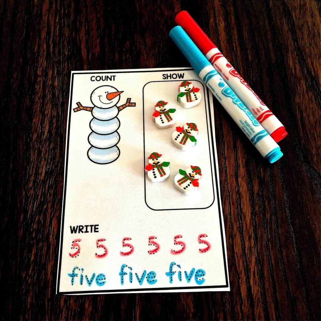 Winter Theme Counting Cards Free With Images