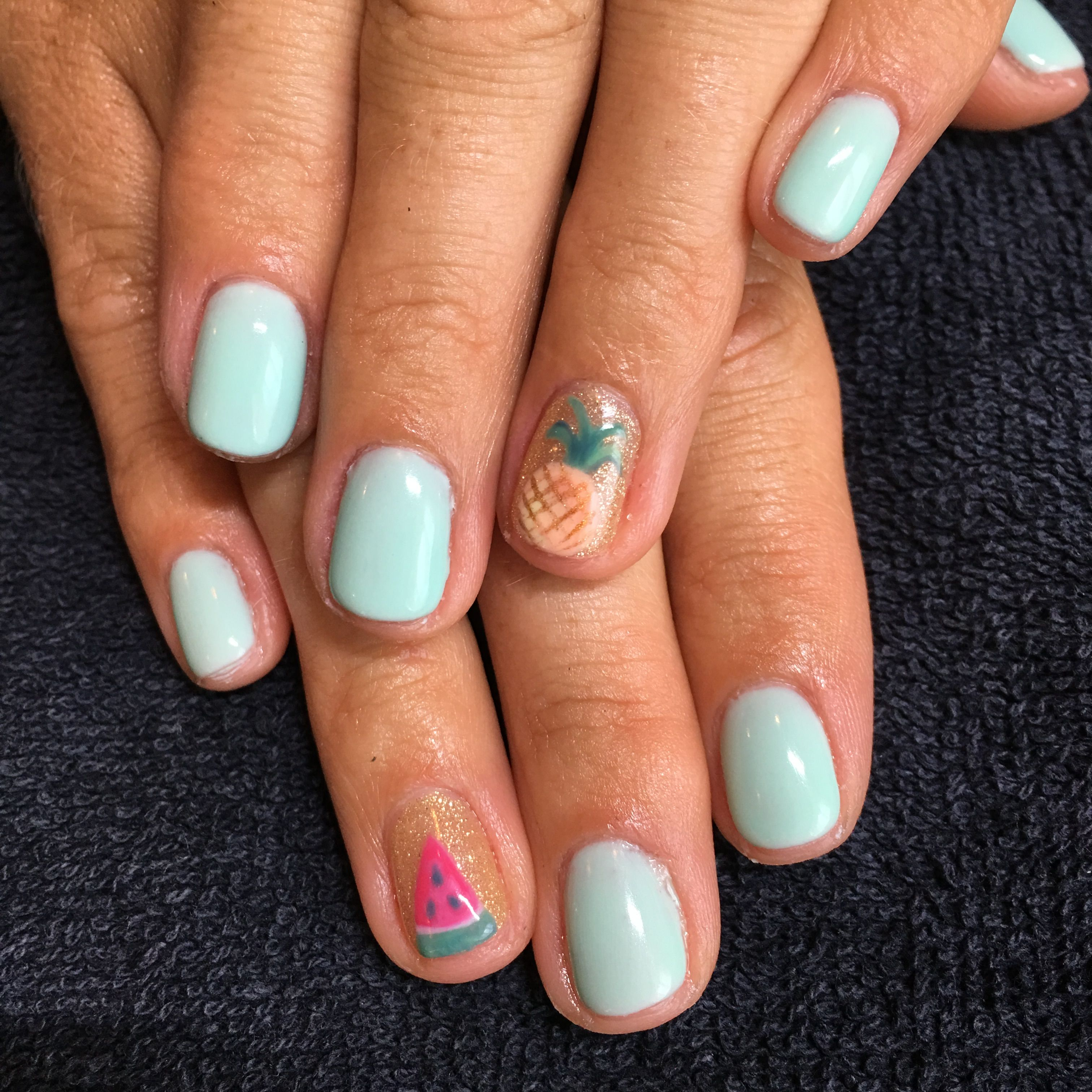 Freehand Nail Art Pineapple And Watermelon Gel Manicure Ig