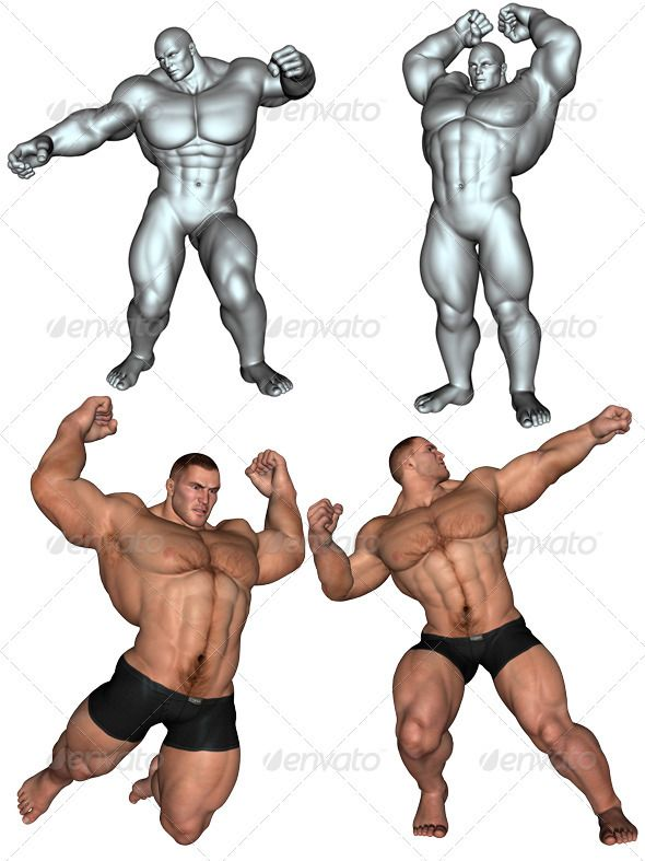 Bodybuilder Bodybuilding Male Body Drawing Action Poses