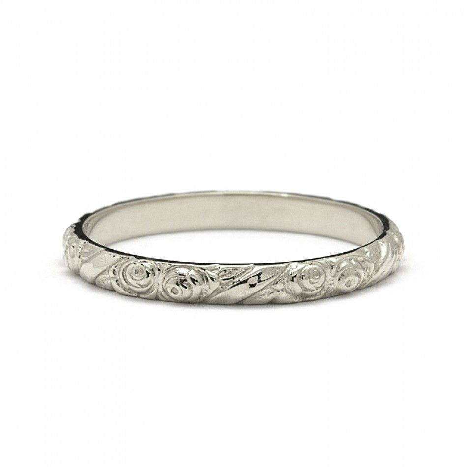 Rose flowers vintage style wedding ring in white gold me gusta