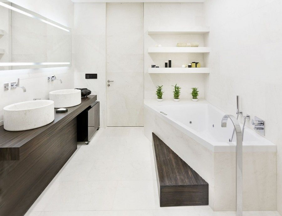 Modern Minimalist Apartment Bathroom Interior Design With Elegant White Asymmetric Bathtub And Round Marble Washbasin