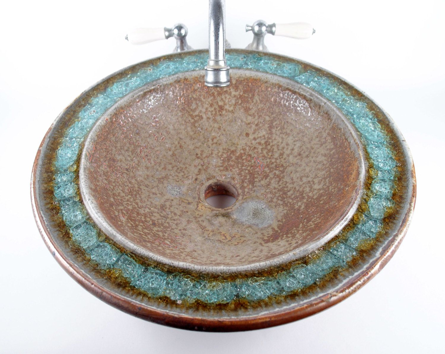Ceramic Sink With Fused Glass Custommade By KerryBrooksPottery