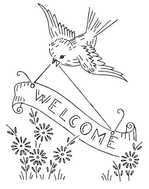 Bird With Welcome Banner Vintage Embroidery Pattern In