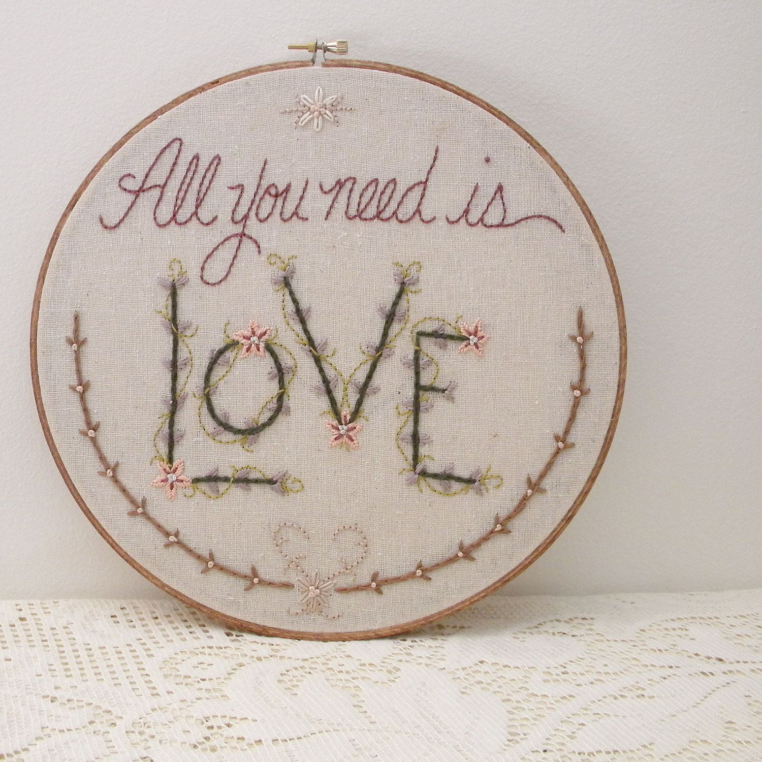 All you need is love romantic embroidered wall art by monkey