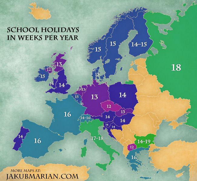 School holidays by country in Europe (map) Life of a Teacher - best of world history map program