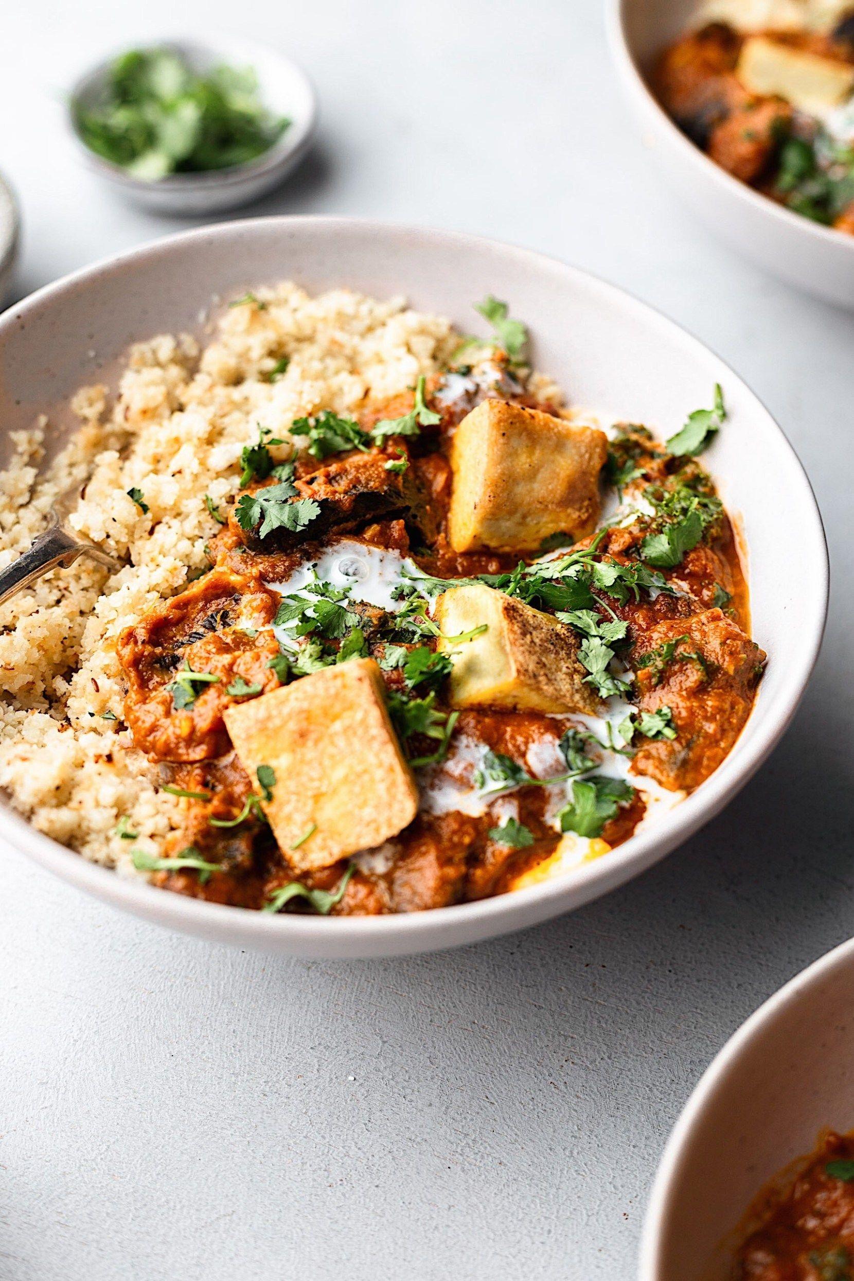 Mushroom And Tofu Tikka Masala With Cauliflower Rice