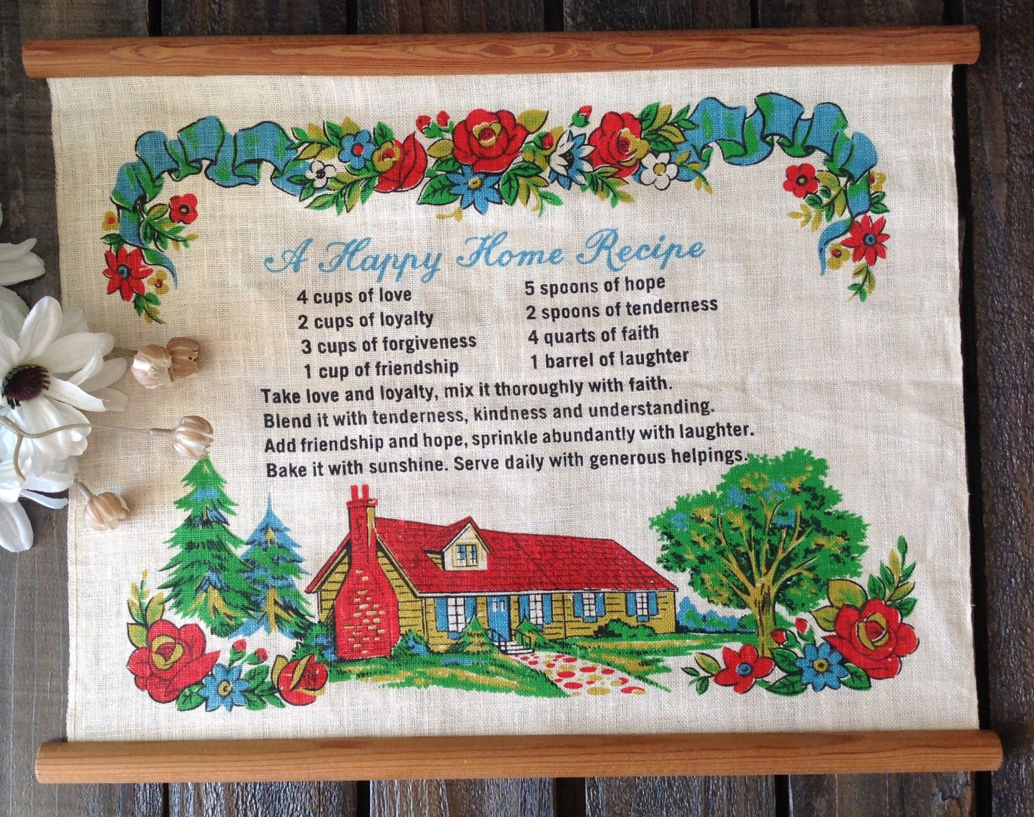 A personal favorite from my Etsy shop https://www.etsy.com/listing/233735443/vintage-wall-hanging-happy-home-recipe