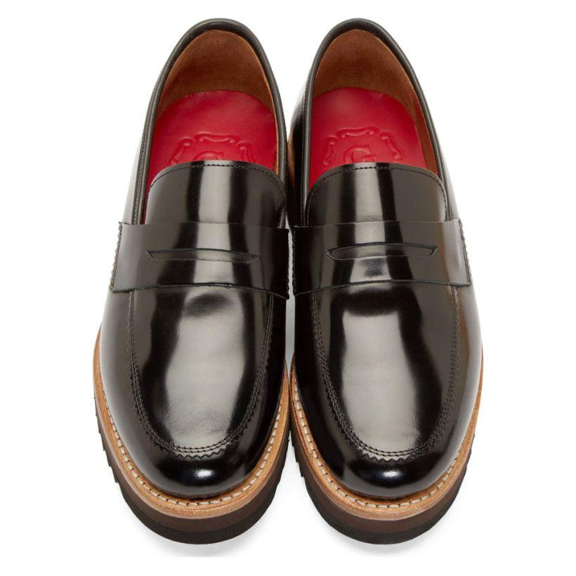 a7ea63dfb0d Grenson Black Hi Shine Leather Niles Penny Loafers