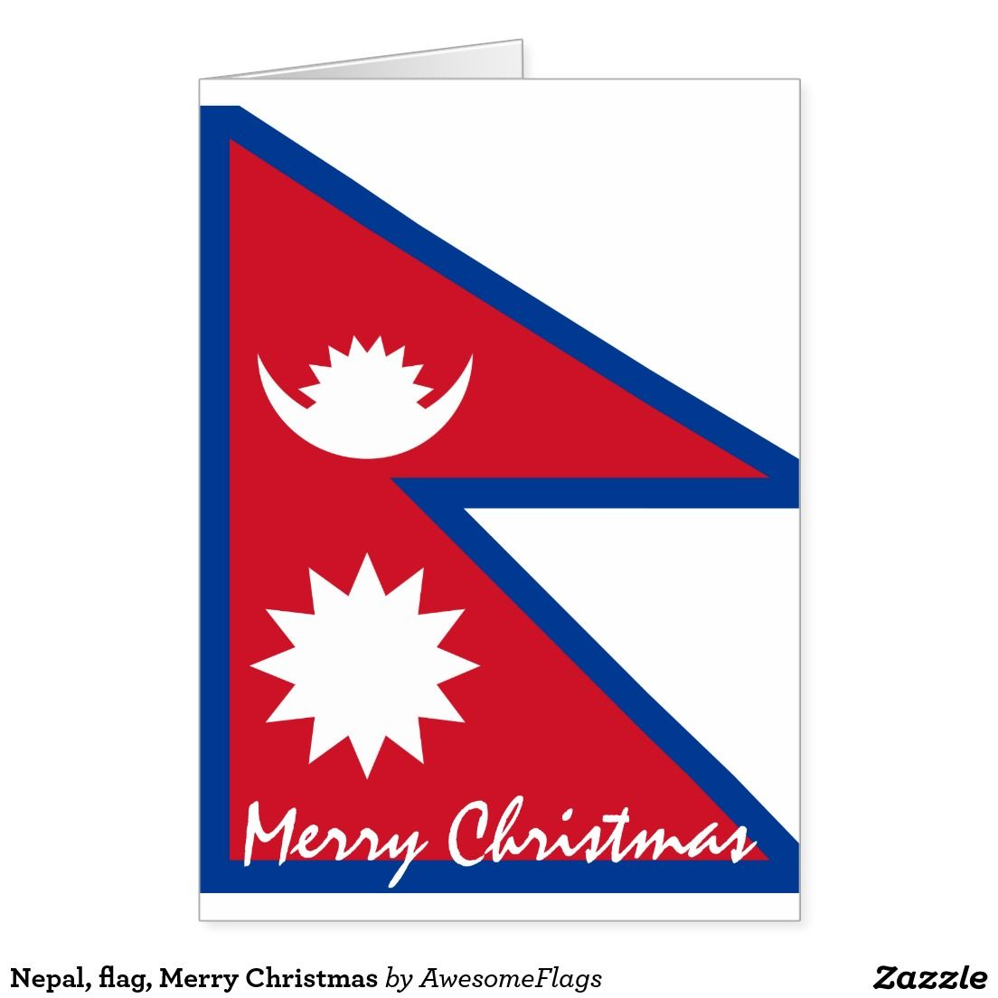Nepal Flag Merry Christmas Holiday Card Zazzle Co Uk Flags For
