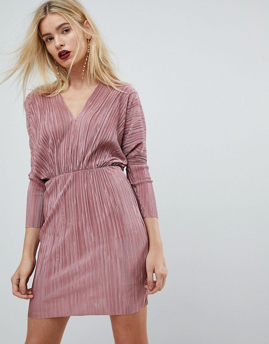 36ad73bc0a08d Batwing V-Neck Plisse Mini Dress | Wear it | Pink mini dresses ...