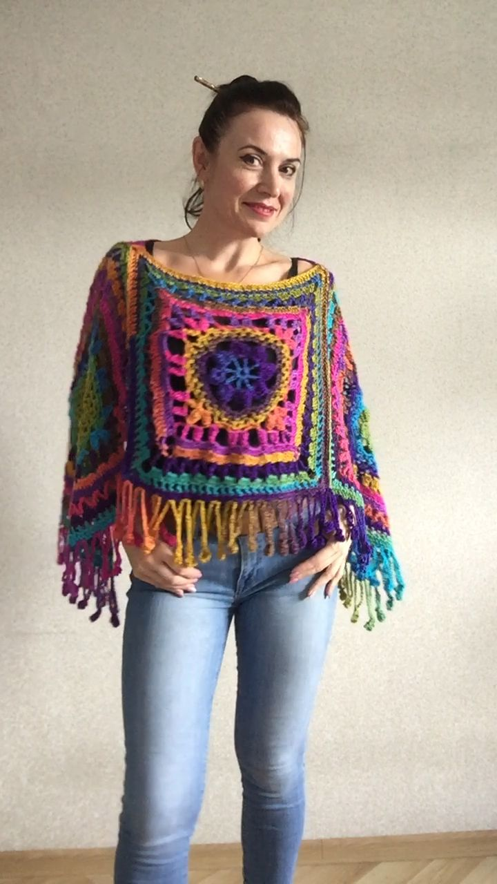 Photo of Rainbow Crochet Poncho Fringe, Plus size Festival poncho Pride, Triangle Shawl Wraps, Poncho Women Mom-Birthday-Gift-from-Daughter-For-Her