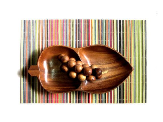 Leilani Monkey Pod Wood Divided Dish Leaf Shaped by recreated1