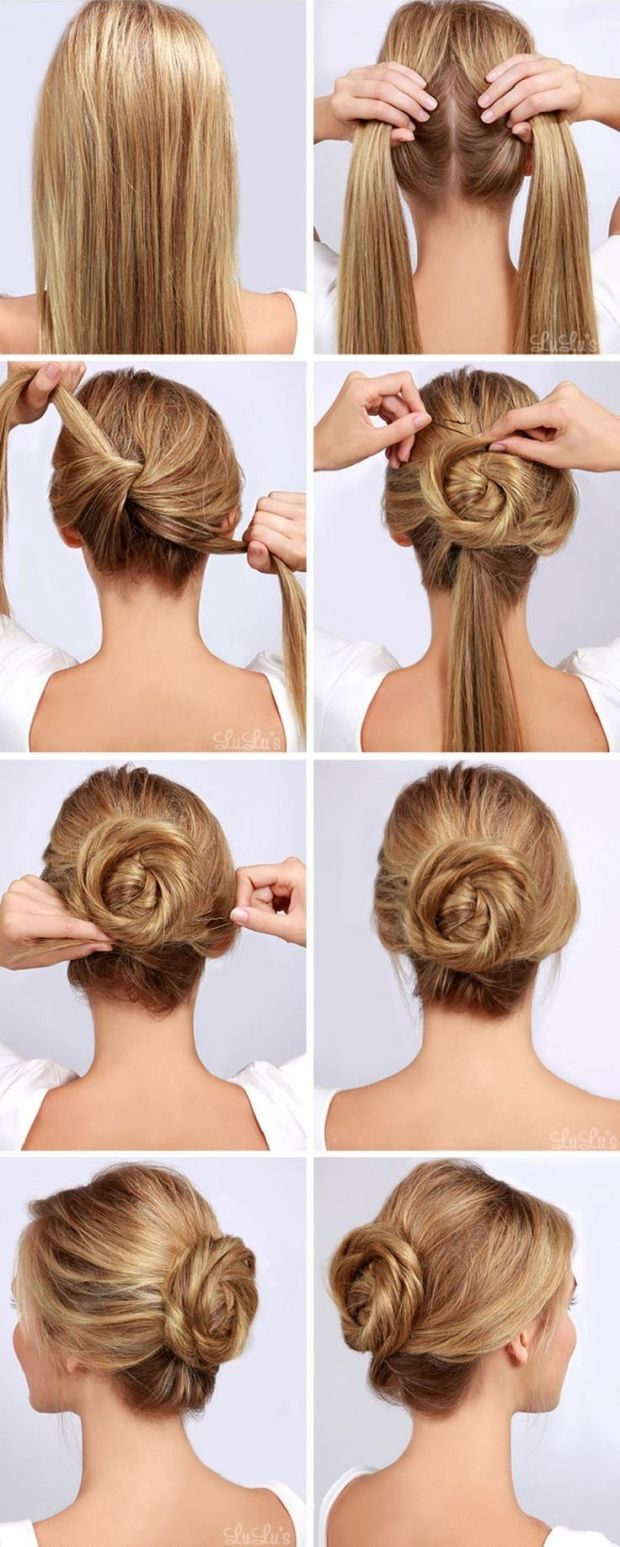 This roselike bun is super pretty and so simple to do