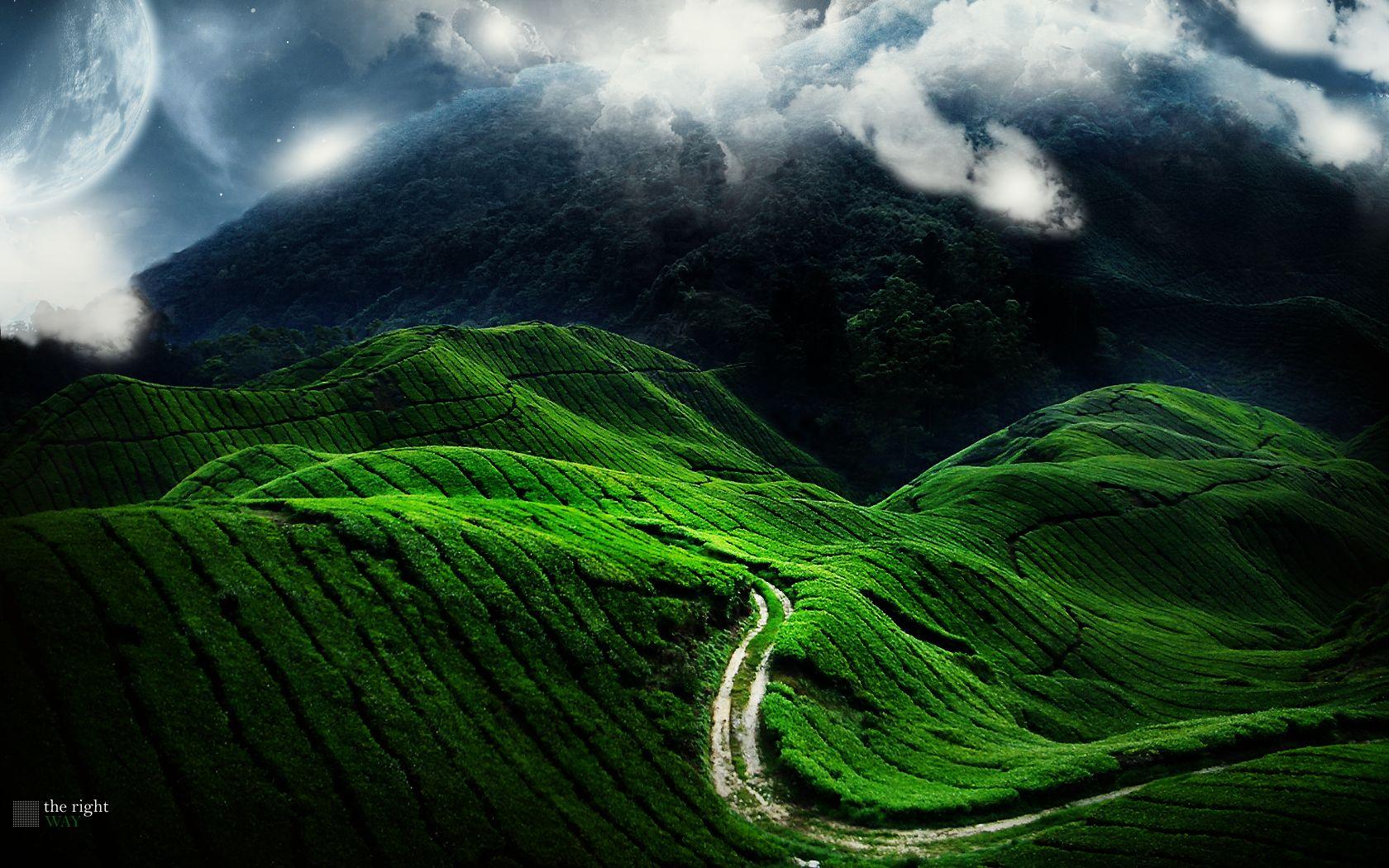 Wallpaper Green Mountains Mountain Road Beautiful Nature