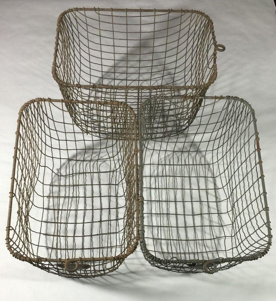 3 Vintage Metal Wire Baskets Locker Industrial Storage Berger Mfg