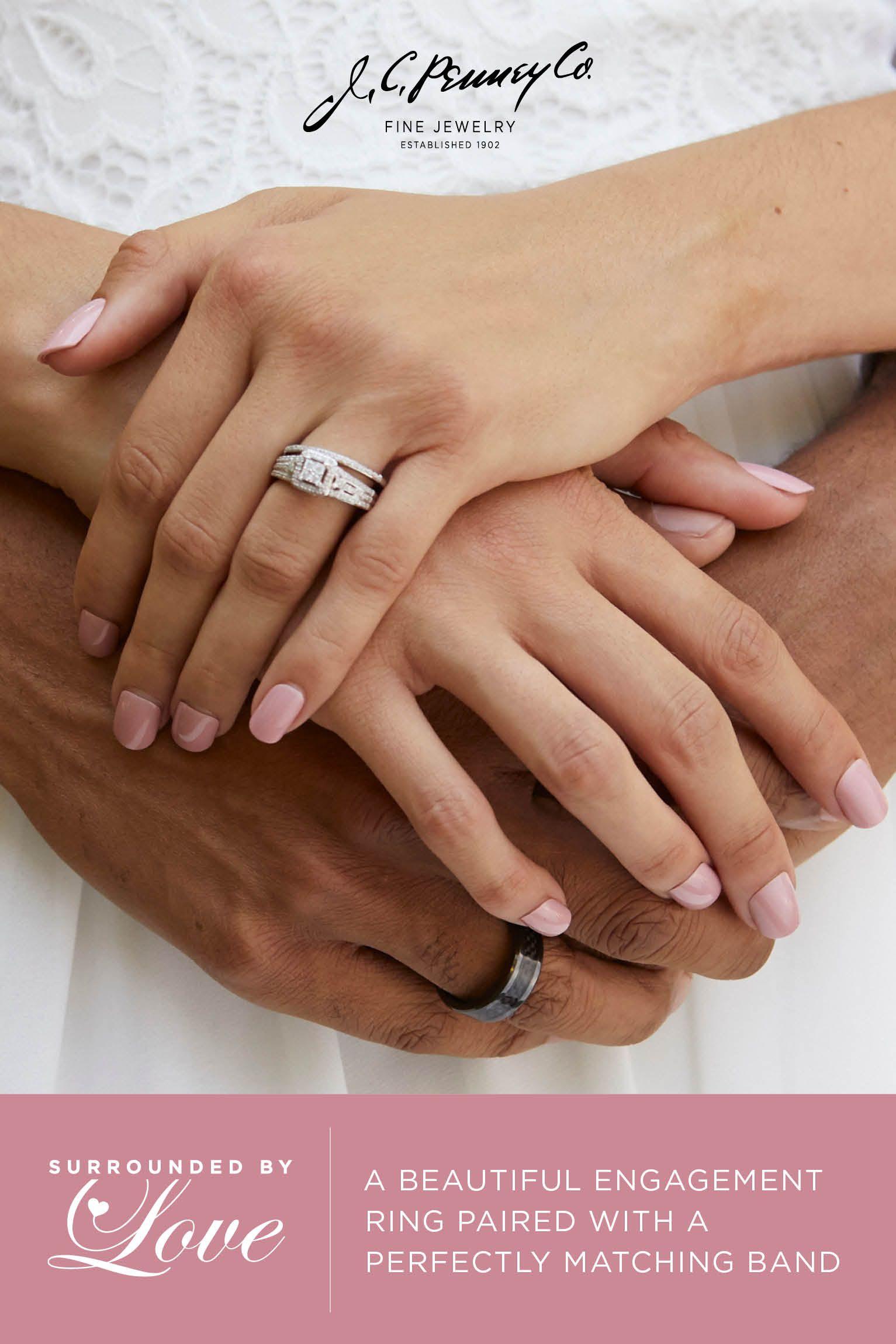 Bridal rings matching bands white rose gold ring