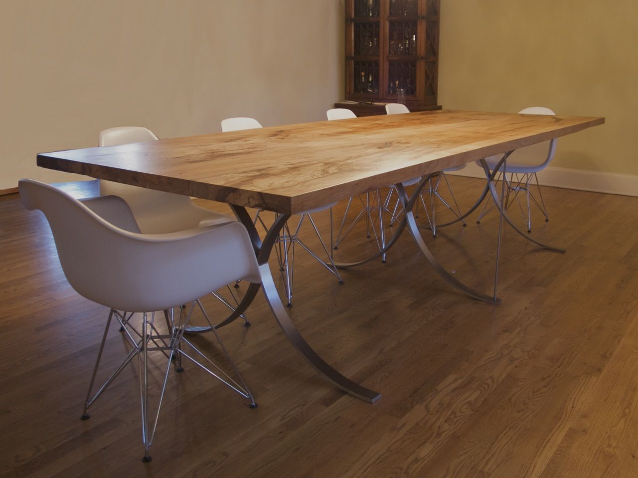 Stainless Steel Dining Room Tables Hand Finished Stainless Steel Table Frame With Solid Texas Native