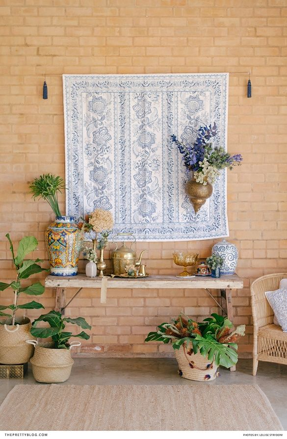Blue and white moroccon inspired decor