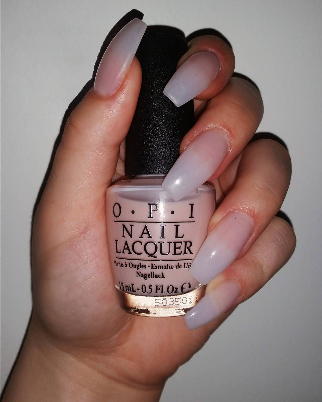 Nailed it! Opaque pink-nude coffin acrylic nails. OPI nail polish in ...
