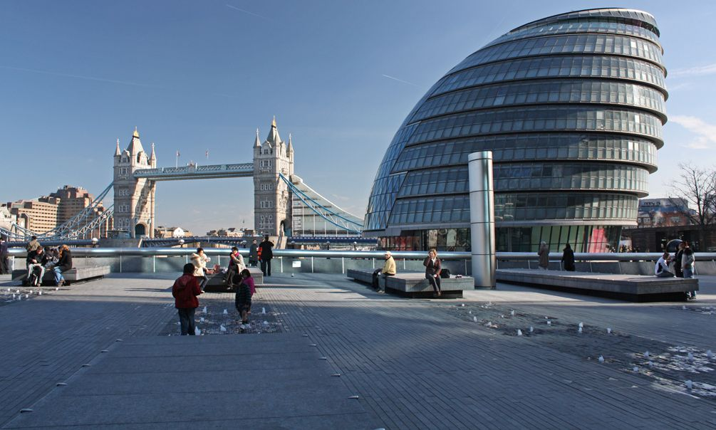 London Odd Shaped Building Is City Hall Tower Bridge On Left London City Visit London Westminster London