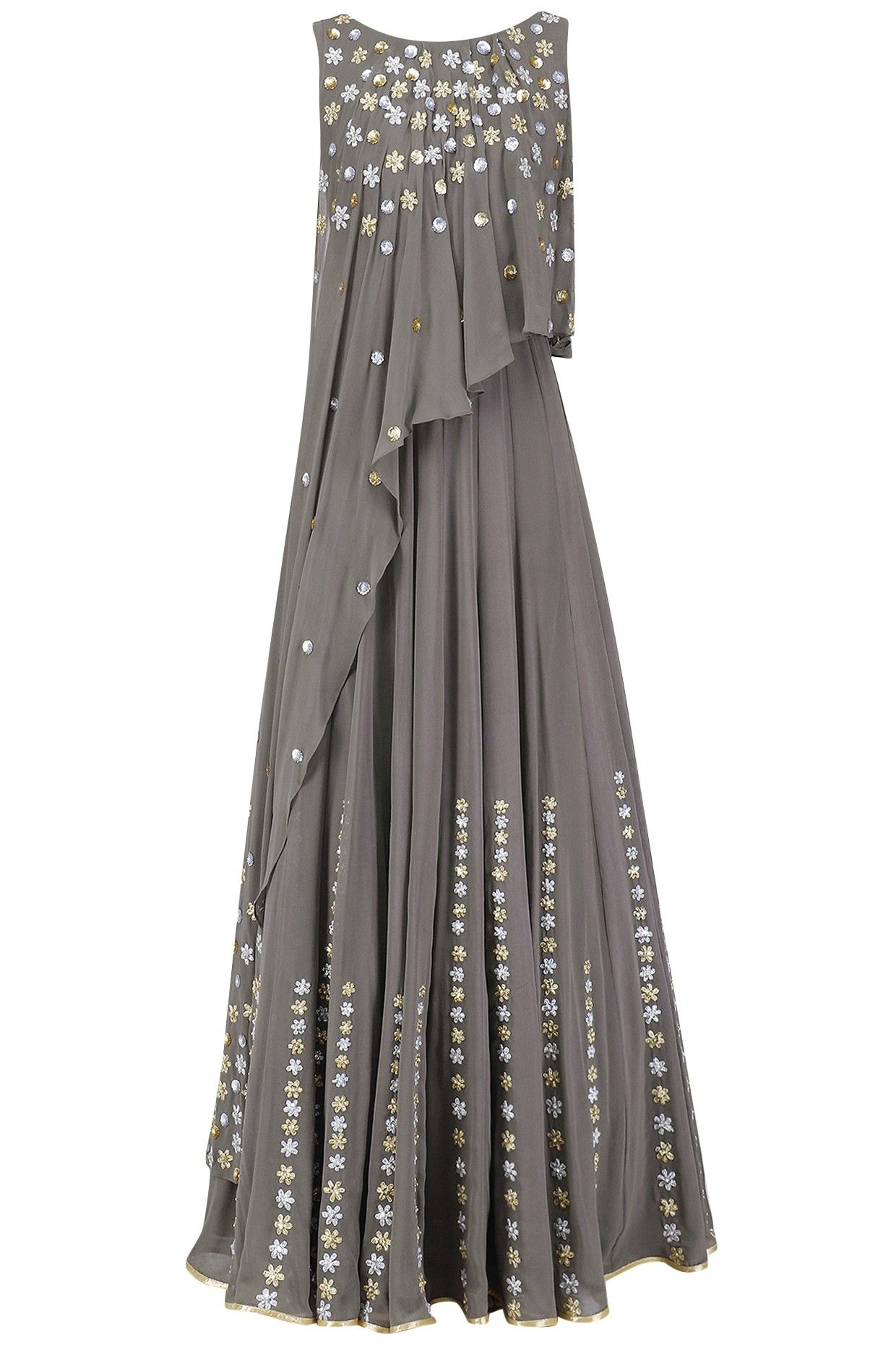c743e1158ba Seema Thukral Grey Embroidered Attached Dupatta Anarkali