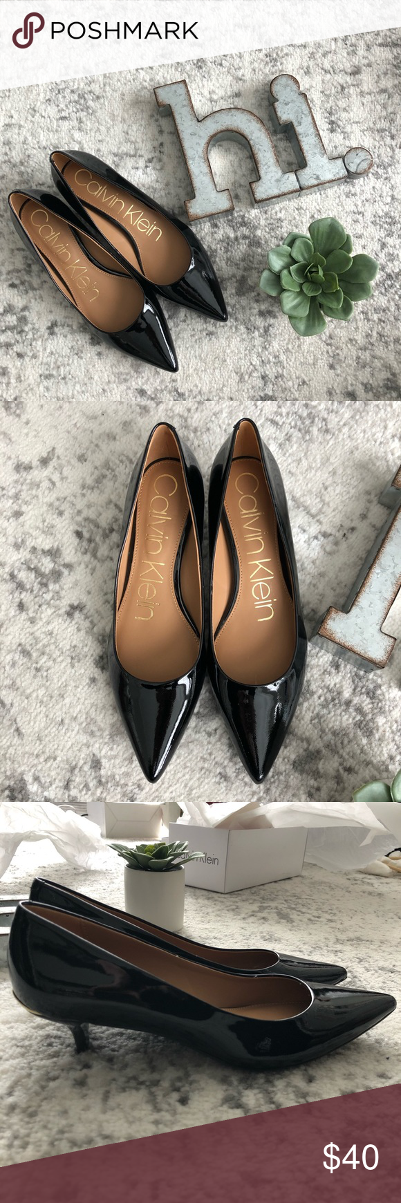 New Calvin Klein Pointed Toe Kitten Heel Size 6 Kitten Heels Shoes Women Heels Calvin Klein Shoes