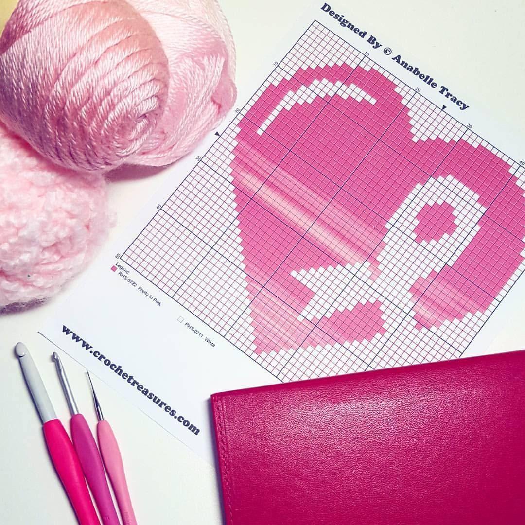Pink Heart & Ribbon Graphgan | Crochet | Pinterest | Crochet ...