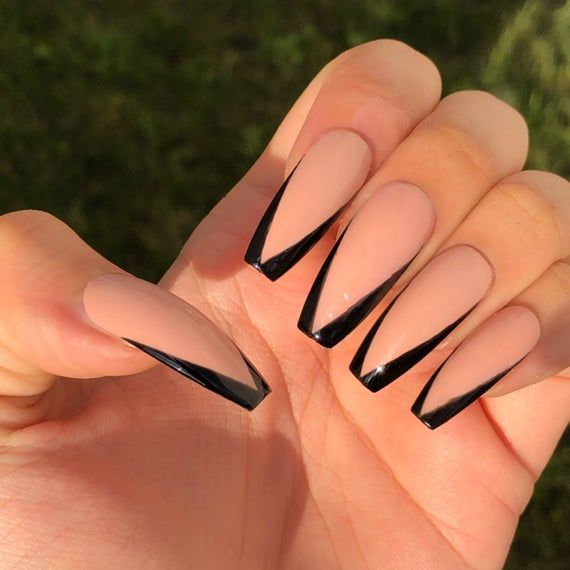 Black V cut Nude French Gel nails - Hand Painted P