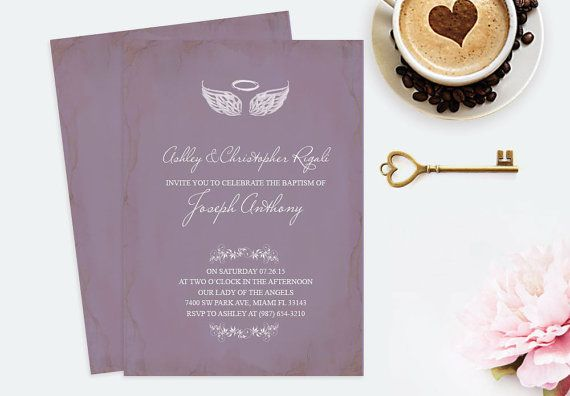 DIY Angel Wings Invitation MS Word Template Baptism by VG Invites