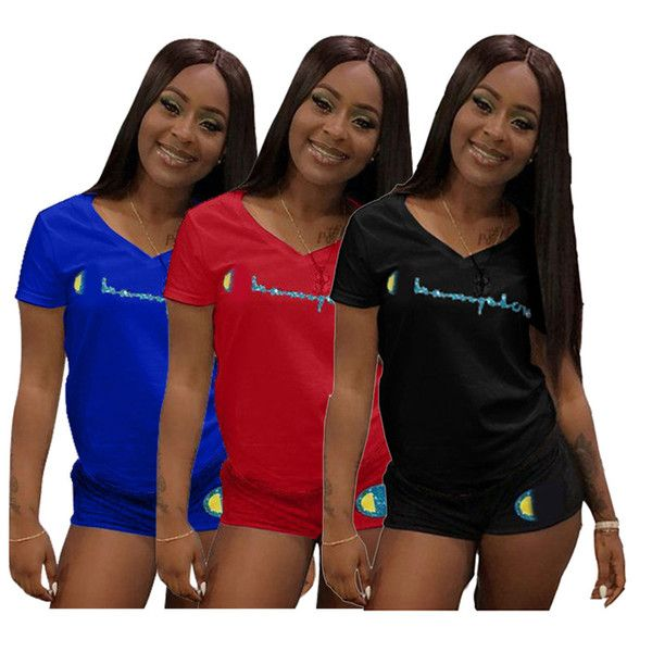 c01bc5538906 Wholesale cheap champions letter print tracksuit gender -women champions  letter print tracksuit short sleeve t