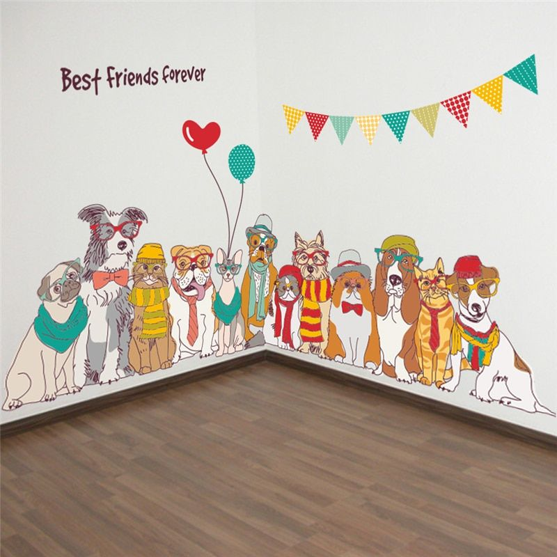 Cartoon Animal Dogs Best Friends Forever Wall Decals For Kids